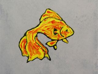 Переводная картинка на плитке в ванной. Золотая рыбка.