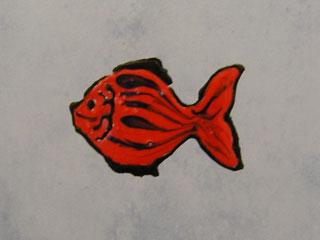 Переводная картинка на кафельной плитке. Красная рыбка.