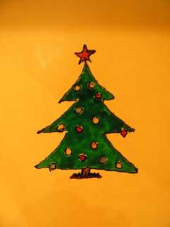 Витражная картинка на плитке в кухне. Новогодняя елочка.
