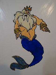 Переводная картинка на плитке в ванной. Нептун.
